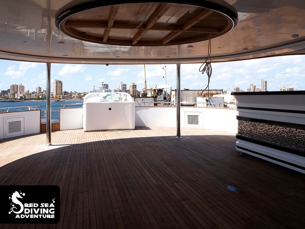 The top deck view toward the stern. Bar on the lef and extra wheel in the front and the entrance to an extra sundeck.