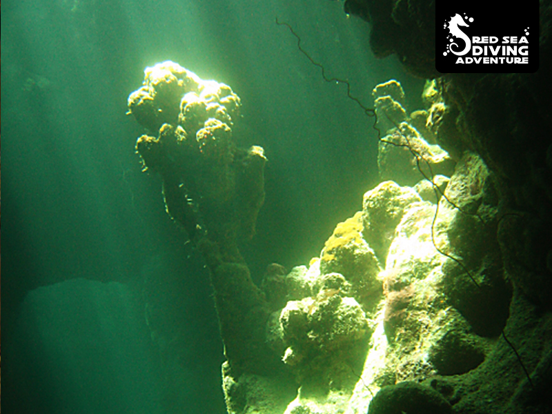 Light playing inside a cave in the shallow waters of Rocky Island.