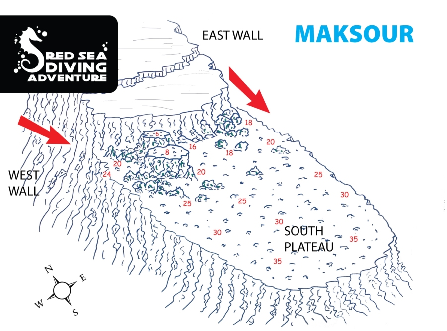 The south plateau of Maksour extends deep into the blue and is covered with coral blocks. Good chance to spot stonefish, turtle eating, nurses in all sizes, Napoleon wrasses and some shark action if there is a current running.