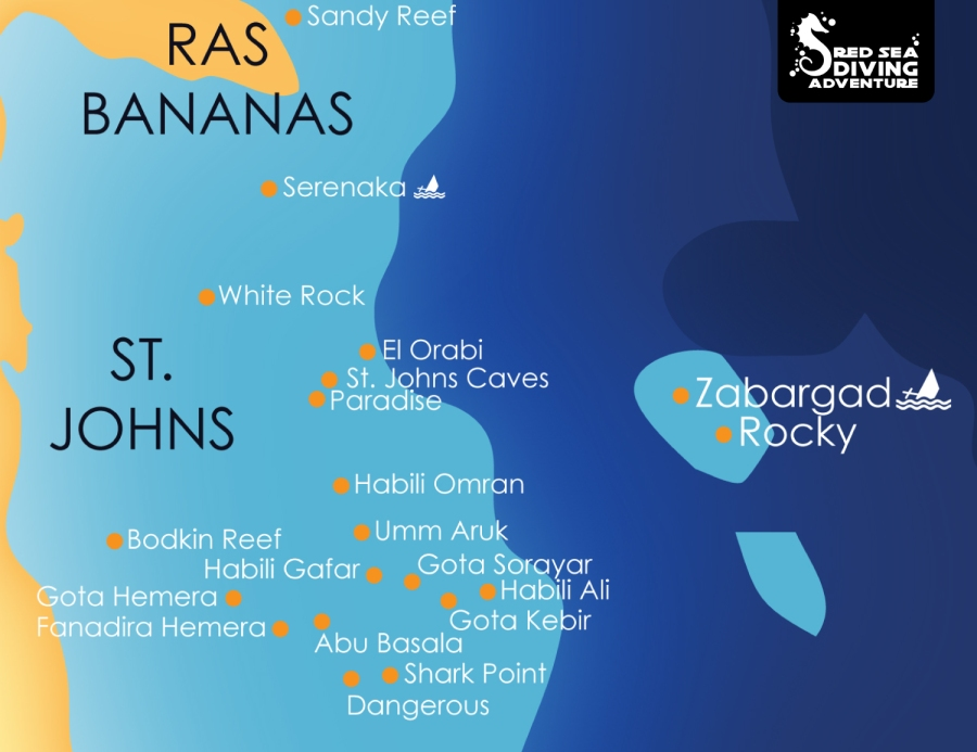 Rocky & Zabargad are two islands that are the farthest outpost of Egypt. The are located East of Saint Johns, a plateau that is home of amazing reefs each with a very different structure. From caverns to deep dropping walls and a forrest of pinnacles.