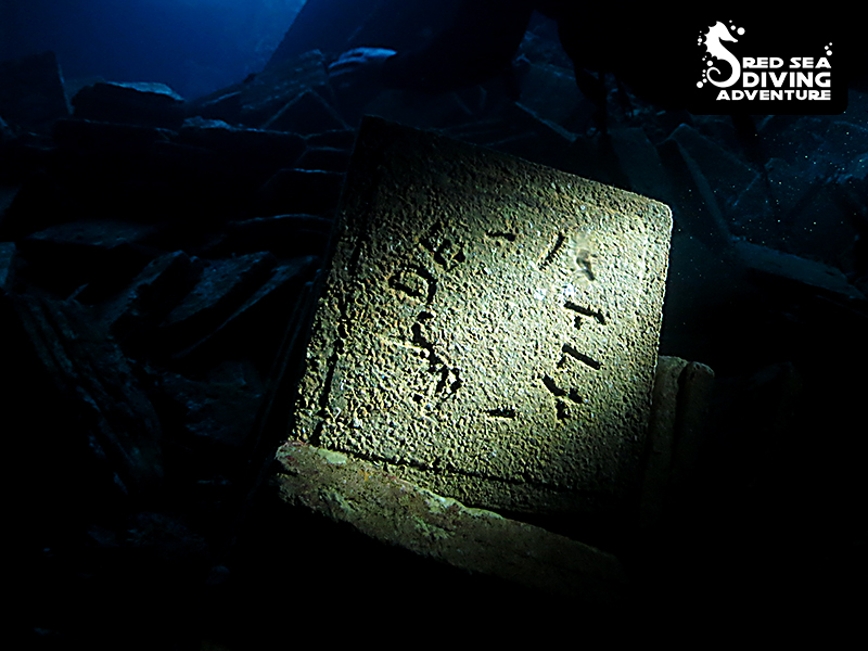 One of many tiles, produced in Italy and at the bottom of the sea inside Chrisola K a.k.a. the Tile Wreck at Abu Nuhas.
