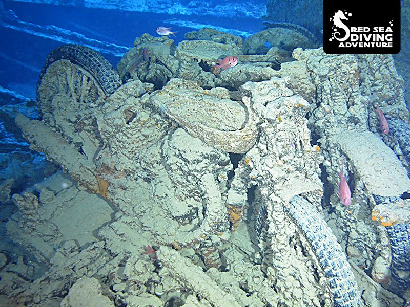 Motorcycles are part of the cargo that is still on board of the SS Thistlegorm that was bombed by the Nazi's during WO II.