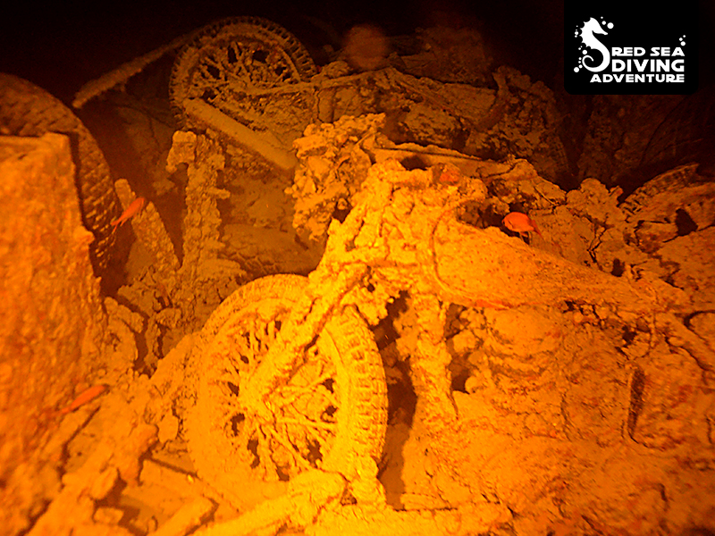 Motorcycles by night on board of the SS Thistlegorm that was bombed by the Nazi's during WO II.