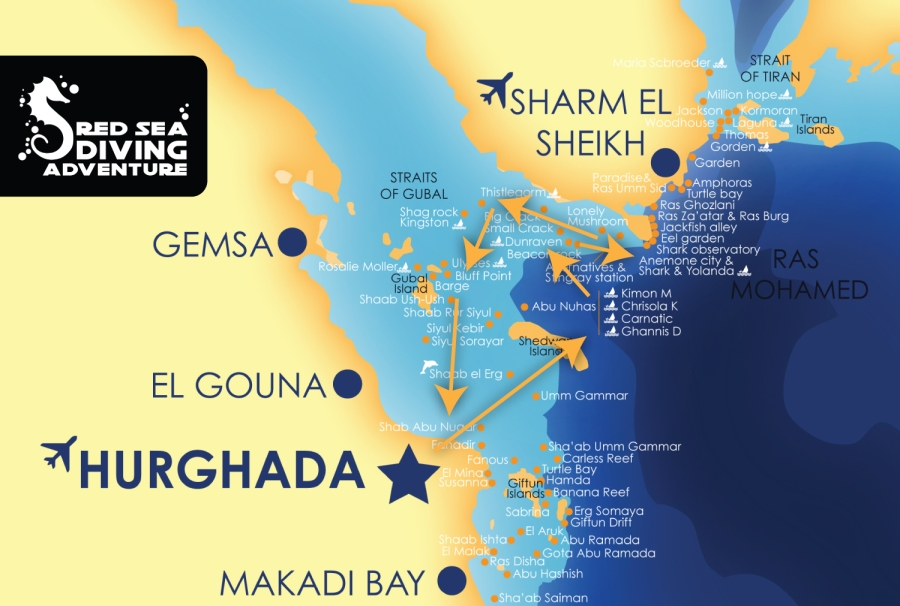 Reefs and wrecks is a famous tour with great sites like the SS Thistlegorm, Carnetic, Dunraven and some pretty awesome reef diving with Umm Gammar, Ras Mohamed and many more.