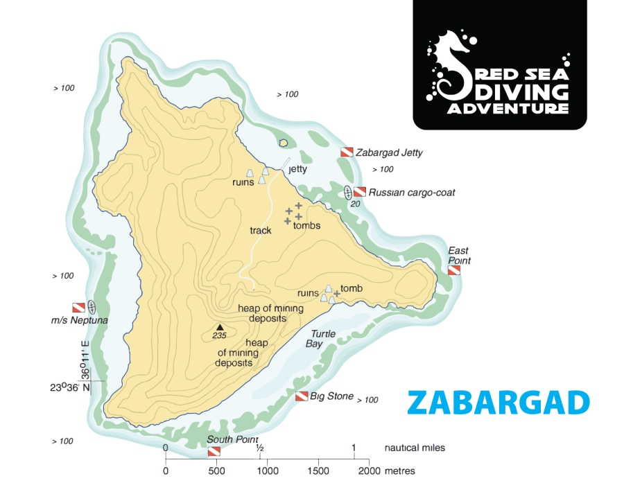 Zabargad is quite a big Island in the far outskirts of the southern Red Sea. Turtle bay is known for sea turtles to lay their egg in the summer and the reef just south of that spot makes foursome pretty good diving.